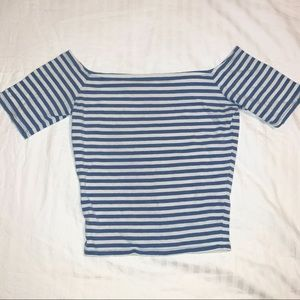 baby blue & white striped top